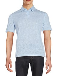 Saks Fifth Avenue Linen Jersey Polo Shirt Pool Blue