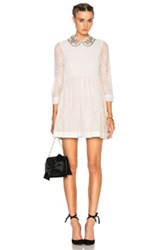 Red Valentino Collared Lace Mini Dress In White