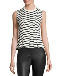 Alexander Wang Sleeveless Striped Peplum Top Ink Ivory Ink And Ivory