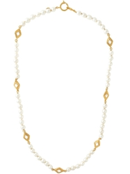 Chanel Vintage Pearl And Rhinestone Necklace Metallic