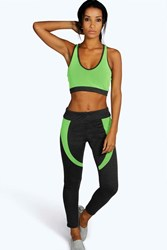 Boohoo Fit Neon Mesh Panel Sports Legging Charcoal