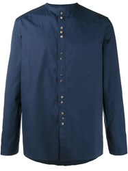 By Walid Collarless Shirt Blue