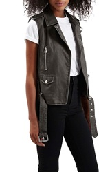 Topshop 'Sylvia' Faux Leather Moto Vest Black