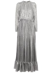 Adam By Adam Lippes Silver Plisse Silk Blend Lame Gown