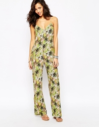 Pull And Bear Pullandbear 70'S Safari Print Jumpsuit Multi
