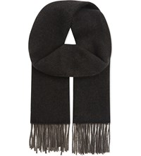 The Kooples Classic Wool And Cashmere Scarf Grey Black