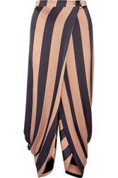 Stella Mccartney Wrap Effect Striped Satin Tapered Pants Neutral
