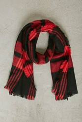 Forever 21 Men Woven Plaid Scarf Black Red