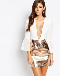 Rare London 2 In 1 Mini Dress With Plunge And Pu High Shine Skirt White