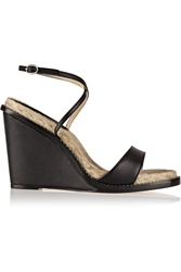 Paul Andrew Hampton Matte Leather Espadrille Wedge Sandals