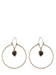 Etro Heart Stone Pendant Brass Earrings