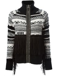 Laneus Fair Isle Knit Fringed Studded Cardigan