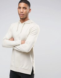 Asos Muscle Fit Longine Hoodie With Side Zips In Beige Noodle