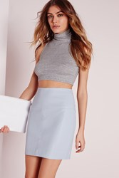 Missguided Faux Leather Mini Skirt Blue Grey