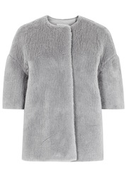 Max Mara Kiss Grey Cashmere Blend Faux Fur Jacket