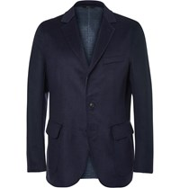 Brioni Navy Double Faced Wool Silk And Cashmere Blend Blazer Blue