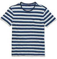 Polo Ralph Lauren Slim Fit Striped Cotton Jersey T Shirt Blue