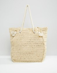 South Beach Paper Straw Shopper Bag With Rope Handle Natural Straw Beige
