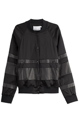 Alexander Wang Leather Detailed Baseball Jacket