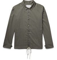 By Walid Drawstring Hem Cotton Voile Overshirt Green