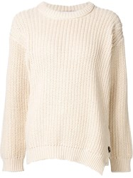 Closed Ribbed Knit Sweater White