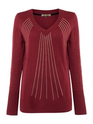 Biba Studded Art Deco V Neck Jumper Berry