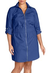 Plus Size Women's Michael Michael Kors Cotton Poplin Zip Front Shirtdress Royal