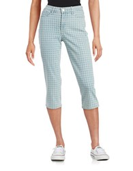 Nydj Petite Patterned Cropped Denim Capris Gingham Wash