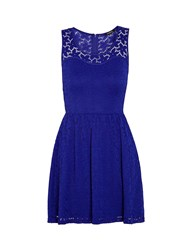 Morgan Skater Dress With Patterned Lace Overlay Blue