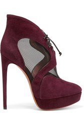 Alaia Mesh Paneled Suede Platform Boots Red