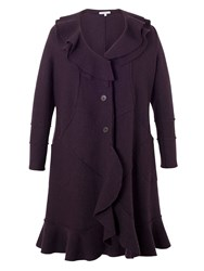 Chesca Wool Coat With Flounce Collar And Trim Purple