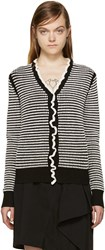 3.1 Phillip Lim Black And White Ruffled Cardigan