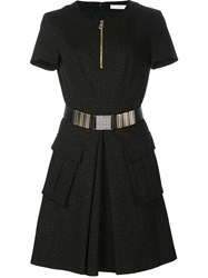 Versace Collection Zipped Round Neck Dress Black