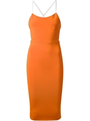 Victoria Beckham Fitted Buckled Leather Strap Dress Yellow And Orange