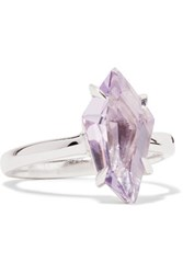 Alexis Bittar Silver Tone Crystal Ring Purple