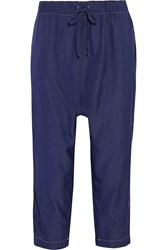 Clu Cropped Silk And Cotton Blend Tapered Pants Blue
