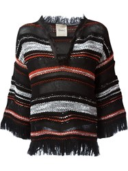 Nude Knitted Striped Top Black