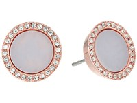 Michael Kors Disc Studs Earrings Rose Gold Lavender Acetate Clear Pave Earring