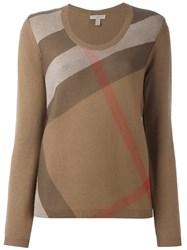 Burberry Stripe Detail Pullover Nude And Neutrals