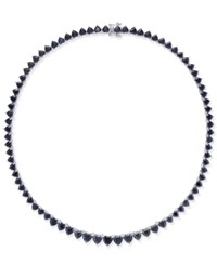 Macy's Black Heart Sapphire Collar Necklace 52 Ct. T.W. In Sterling Silver