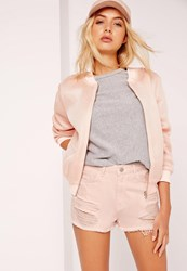 Missguided High Waisted Ripped Denim Shorts Pink Pink