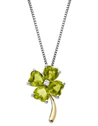 Lord And Taylor Sterling Silver 14Kt. Yellow Gold Peridot Diamond Necklace Peridot Gold