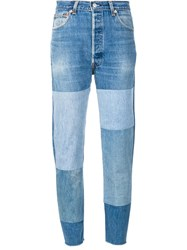 Re Done Patchwork Straight Jeans Blue