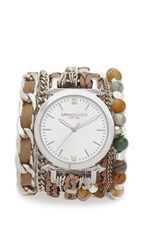 Sara Designs Agate Wrap Watch Taupe Silver