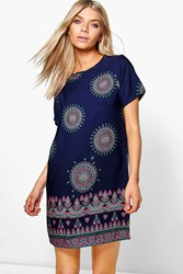 Boohoo Paisley Border Print Shift Dress Navy