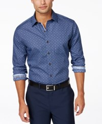 Tasso Elba Big And Tall Tile Print Long Sleeve Shirt Only At Macy's Navy Combo