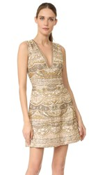 Alice Olivia Dolly Embroidered Dress Gold Multi