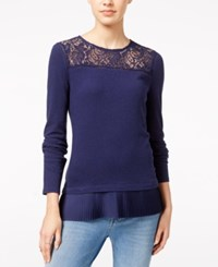 Maison Jules Lace Trim Top Only At Macy's Blu Notte