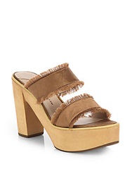 Derek Lam Luanda Satin Wooden Sandals Brown