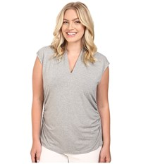 Vince Camuto Plus Size Sleeveless Pleat V Neck Top Heather Grey Women's Clothing Gray